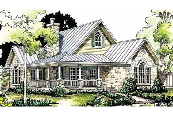 Love the porch and the stone!