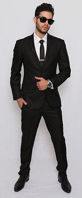 Slim Fit Men Suit Tuxedo Black 2 Button Flat Front Pants Slim