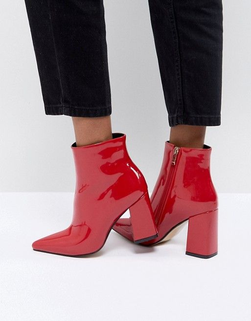 exceptional range of styles huge sale distinctive style Public Desire Empire Red Block Heeled Ankle Boots | Style ...