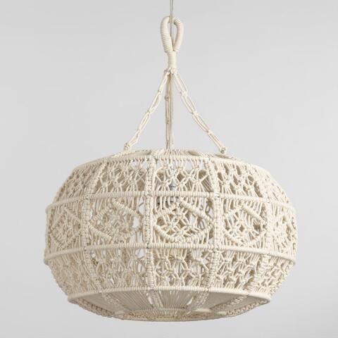 Ivory Macrame Sphere Pendant Lamp World Market Pendant Lamp