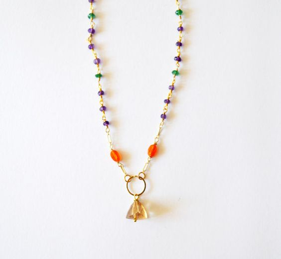14k Gold Filled Beaded Necklace with Topaz Purple by RawLuxGems