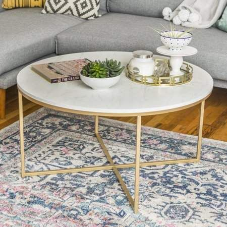 Home Faux Marble Coffee Table Round Coffee Table White Round