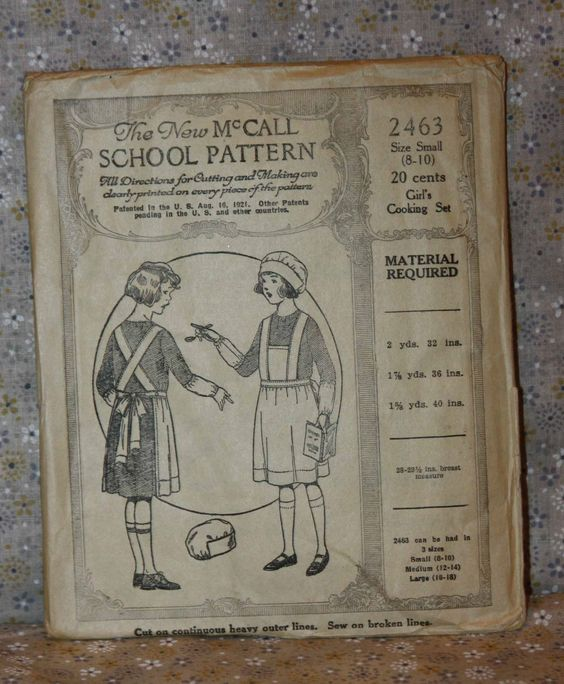 The New McCall School Pattern 2463 Girl's Cooking Set Size Small Patented 1921 | eBay