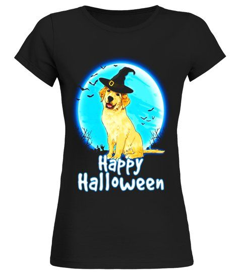 Dog Halloween T Shirts.Golden Retriever Dog With Witch Hat Funny Halloween T Shirt Round Neck T Shirt Woman Shirt Dog Lady Shirt Golden Retriever Shirt Halloween Costume Shirts