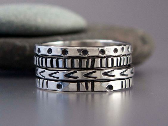 Graphic Patterened Sterling Silver Stacking by LichenAndLychee, $42.00