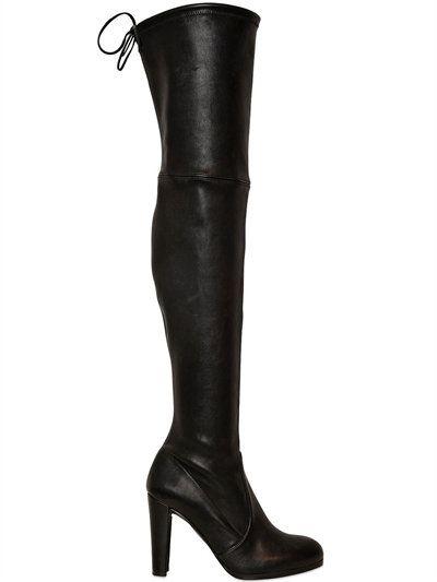 STUART WEITZMAN 90Mm Highland Stretch Nappa Boots, Black. #stuartweitzman #shoes #boots