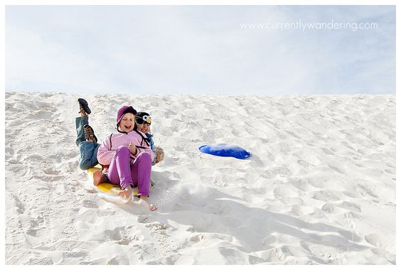 """White Sands National Monument: This was great! Most of the book can be completed in the visitor center (using the video & displays) and then there are a few that include hikes and being out on the dunes. There are 3 different levels with varying requirements but for my 8, 6, and 3 year old it was definitely do-able. Don't forget to get your sled from the gift shop and go """"sanding""""!"""