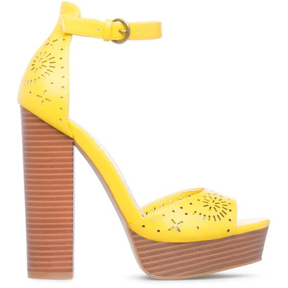 ShoeDazzle Sandals-Dressy - Platform Alize Womens Yellow ❤ liked on Polyvore featuring shoes, sandals, sandals-dressy - platform, yellow, retro platform shoes, wooden sandals, wood shoes, yellow sandals and wood platform shoes