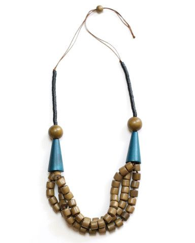 Brown and Teal Wooden Necklace – Sylca Designs   Unique Handmade Wooden Jewelry