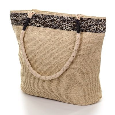 Two Tone Brown Woven Beach Bag to Buy Online