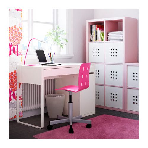 Jules junior desk chair pink silver color bureau ikea for Ikea chaise bureau junior