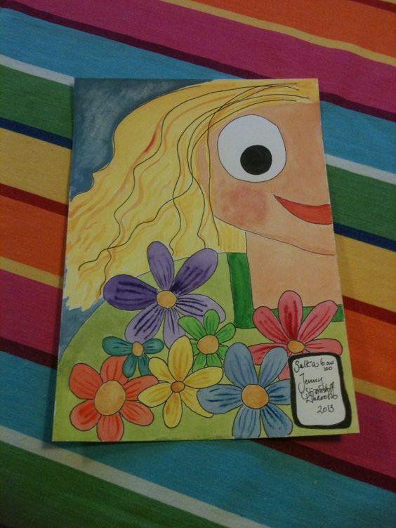 """""""Rainbowflowers"""" made by Jenny Stjärnstoff Linderoth"""