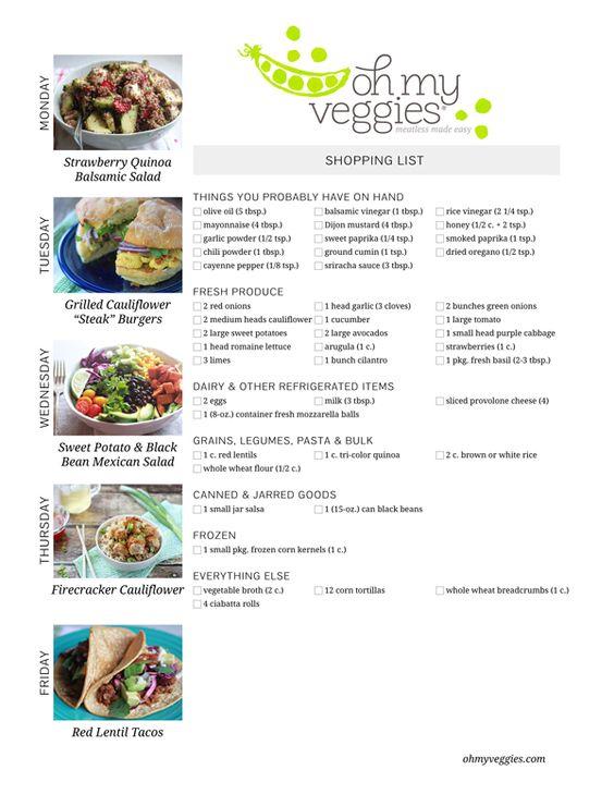 Vegetarian Meal Plan  Shopping LIst - Including Sweet Potato Mexican Black Bean Salad, Grilled Cauliflower Steak Burgers, + 3 more meatless dinner ideas