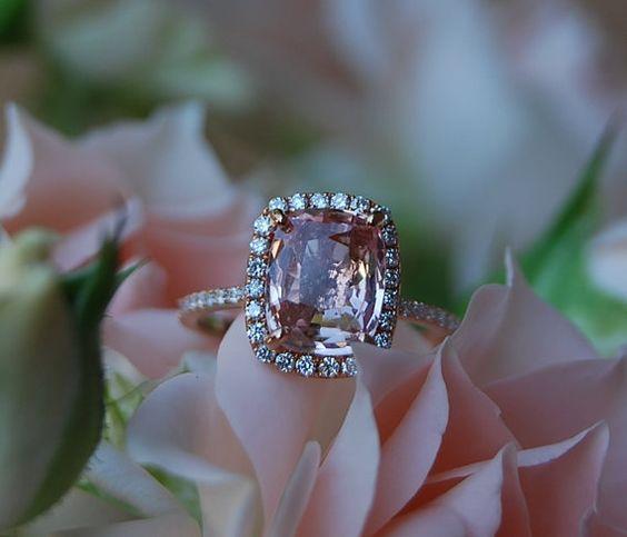 3.1ct Cushion Peach sapphire Champagne sapphire 14k rose gold diamond ring engagement ring
