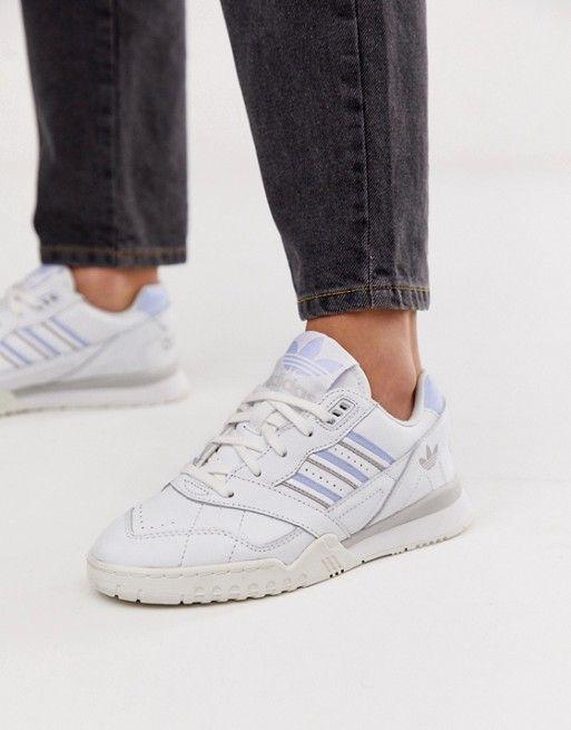adidas Originals white and blue A-R trainers | ASOS | Adidas ...