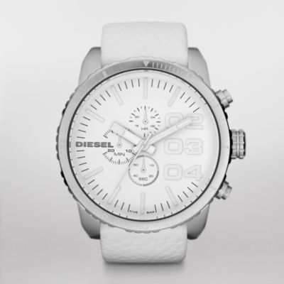 Diesel Chronograph Leather 50M Mens Watch - DZ4240 Diesel. $123.54. Condition:brand new with tags. Brand:Diesel. Model: DZ4240. Band color: white. Dial color: white. Save 31%!