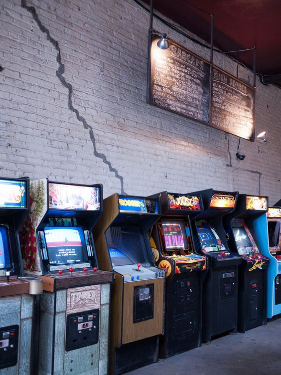 Arcade cabinets in Brooklyn's Barcade. I wonder if my robotron high score is still up on the board?
