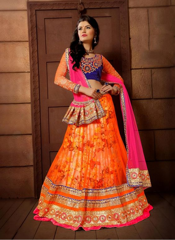 Staggering Net Embroidered Work A Line Lehenga Choli
