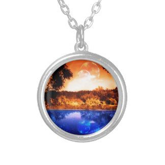 Night Forest and River Round Pendant Necklace