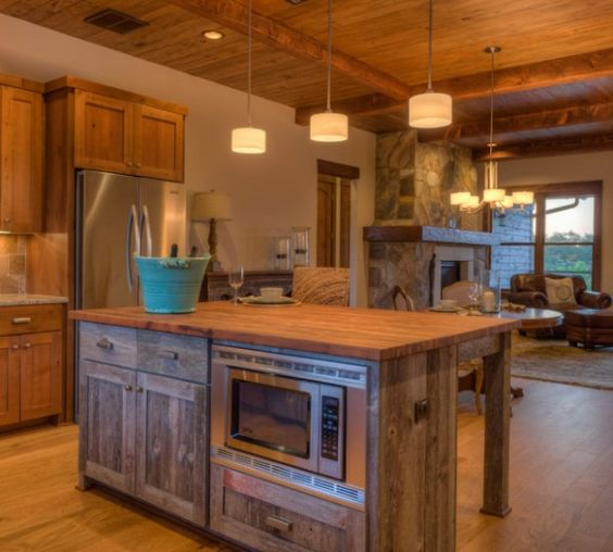 Reclaimed Wood Cabinets - Kitchen Island