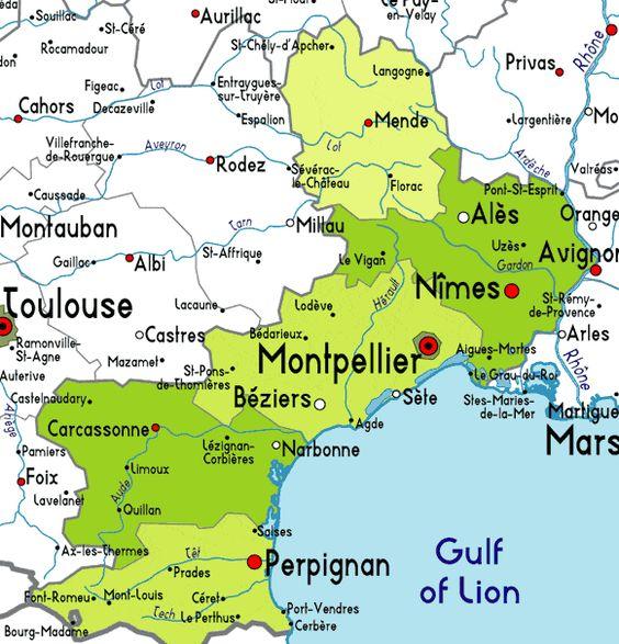 Mappa Linguadoca Rossiglione - Cartina Linguadoca Rossiglione