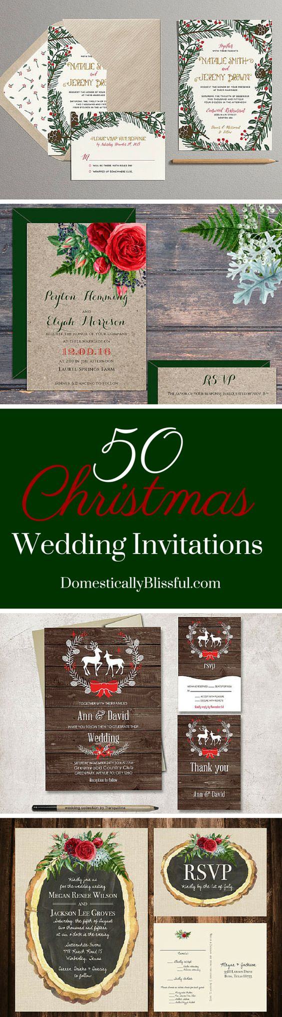 50 Christmas Wedding Invitations curated by Domestically Blissful