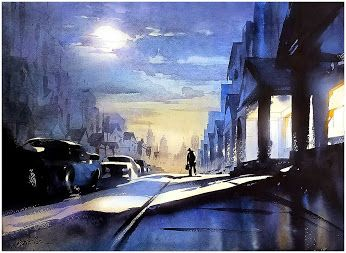 Blue Blue Morning Thomas W Schaller - Watercolor 18x24 inches -  19 May 2015