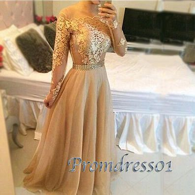 2016 beautiful gold lace chiffon long prom dress with sleeves, ball gown, modest prom dress #coniefox #2016prom