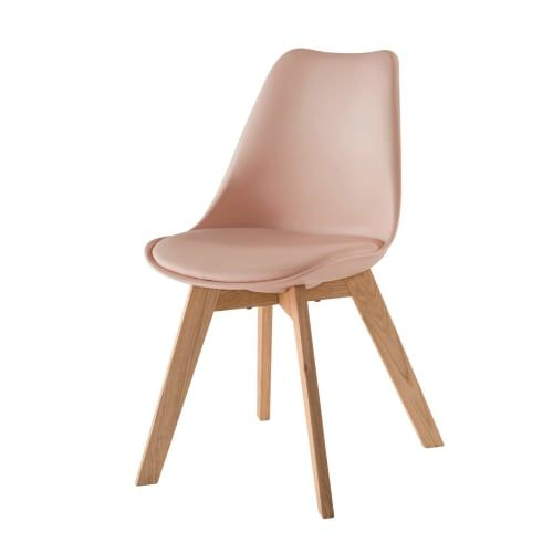 Powdery Pink Scandinavian Style Chair With Solid Oak Maisons Du Monde Chaise Style Scandinave Style Scandinave Fauteuil Rose Poudre