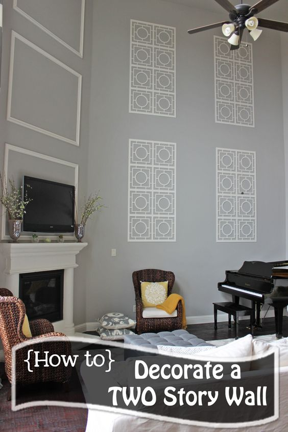 How to decorate a two story wall what to do with those - How to decorate a large wall in living room ...