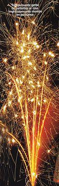 Puissante gerbe de paillettes dorées, impressionnante montée en puissance - Pour un effet spectaculaire à la sortie de l'église, faites la surprise aux mariés d'être face à une pluie d'étoiles crépitantes pour fêter leur union... http://www.mariage.fr/shop/le-petit-feu-d-artifice-vesuve-etoiles-crepitantes-pas-cher-mariage-nos-feux-d-artifices-automatiques.htm