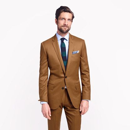 Ludlow suit jacket with double vent in brown Italian wool flannel