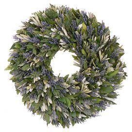 """Adorned with preserved fern and lavender and accented by a burlap ribbon, this charming wreath is a welcoming accent on an entryway wall or displayed above your mantel.  Product: Preserved wreathConstruction Material: Preserved florals and burlapColor: GreenFeatures: Includes preserved fern and lavenderDimensions: 30"""" Diameter"""