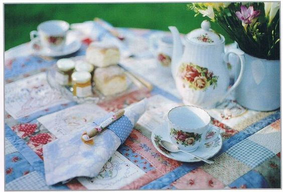 """""""Tea with Friends"""" project book   #red brolly #patchwork #quilt"""