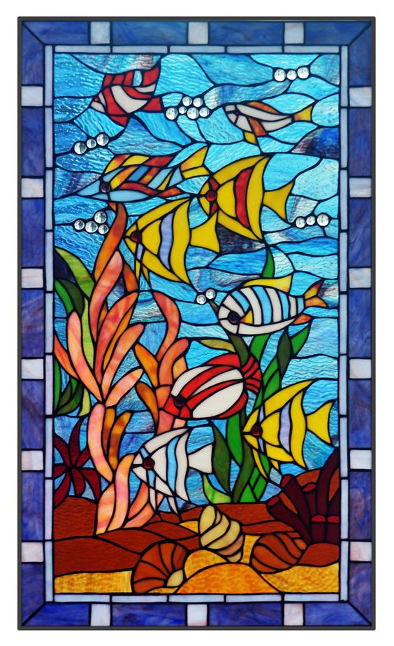Details about 20 x 34 fish under the sea tiffany style for Stained glass fish
