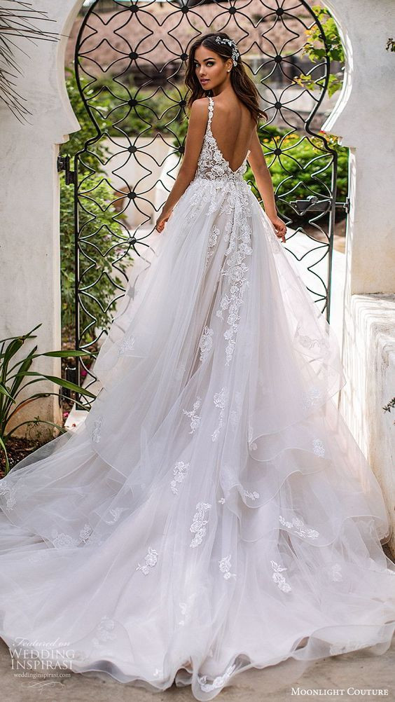 moonlight couture fall 2019 bridal sleeveless lace straps sweetheart neckline embellished bodice a line ball gown wedding dress (1) romantic princess tiered skirt chapel train blush bv -- Moonlight Couture Fall 2019 Wedding Dresses | Wedding Inspirasi #wedding #weddings #bridal #weddingdress #weddingdresses #bride #fashion  ~