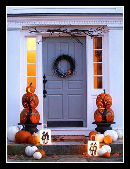 pumpkin topiary: Halloween Decorations, Holidays Halloween, Pumpkin Topiaries, Fall Halloween, Fall Door, Fall Decorations, Front Porch Decorations, Front Porches