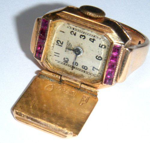 Gold Ruby 'Bucherer' Ring Watch