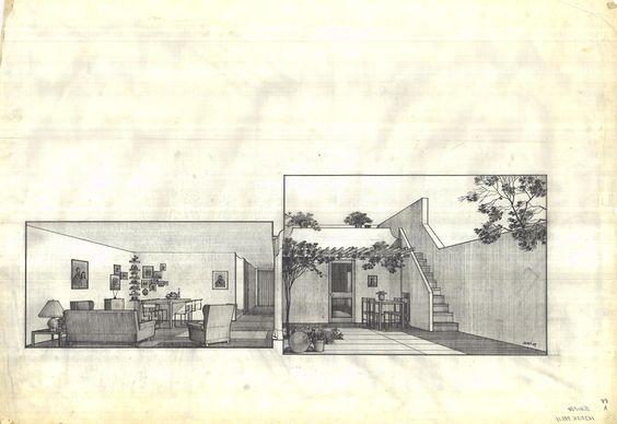 Rafael Esguerra, Alvaro Sáenz, and Germán Samper, Proyecto Experimental de Vivienda (PREVI), Lima, 1969, perspective of a unit | drawings courtesy of Archivo de Bogotá.