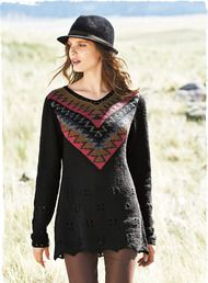 Bold intarsia knit graphics enrich the front and back of this artisan-made tunic. Handloomed in pima bouclé yarns of copper, indigo, ruby and periwinkle, with pointelle and crochet trim.  #PeruvianPicks