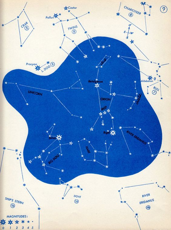 vintage print ASTRONOMY Orion The Twins star map 9 vintage 1960s Astronomy star chart, constellation chart astronomy decor bright blue