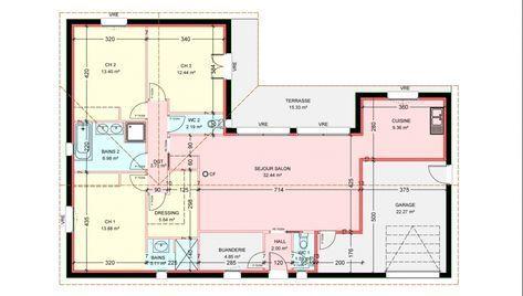 Maisons Plain Pied 3 Chambres De 112 M Construite Par Demeures Familiales Maison Plain Pied Plan Petite Maison Plan Maison 120m2