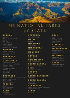 All of the US National Parks by State. If you're looking to take a outdoorsy vacation, definitely look into visiting one of our National Parks.