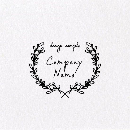 おしゃれな葉っぱの飾り枠のロゴ ロゴデザインシンプル 記念ロゴ フォント おしゃれ