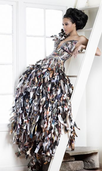 Graphic/fashion designer Lia Griffith from Papier Couture has certainly provided some inspiration with her amazing ball gowns made from cut up magazines. The above dress aptly started out as 11 copies of Vogue. Images via Ecouterre Related posts: Reclaimed on the Red Carpet Paper Vine Jewellery Paper Doll Decorating with Paper Paper Love Cool Intentions