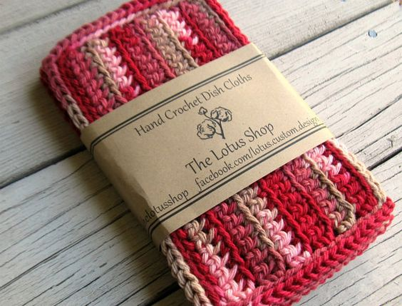 Handmade Crochet Dishcloths Set of 4  Damask Ombre by TheLotusShop, $11.95
