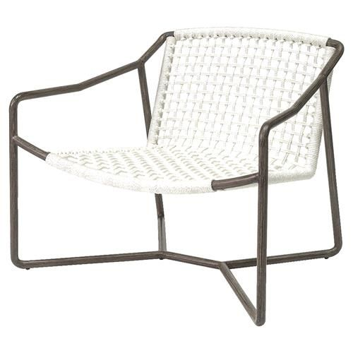 Palecek Dockside Modern Coastal Metal Hand Woven Rope Outdoor Lounge Chair Lounge Chair Outdoor Modern Coastal Outdoor Furniture