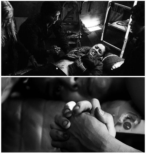 Finn holding Raven's hand || The 100 || Finn Collins and Raven Reyes || Thomas McDonell and Lindsey Morgan || Faven