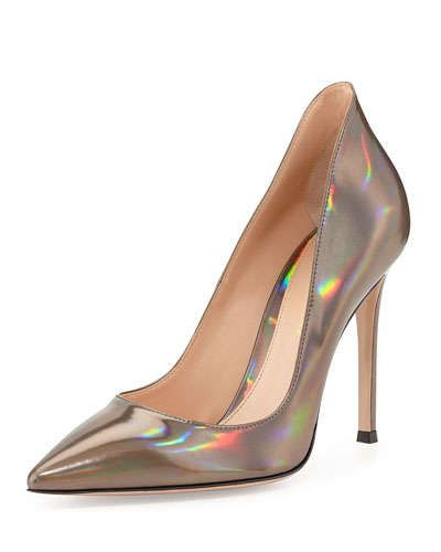 X26N7 Gianvito Rossi Mirror Leather Point-Toe Pump, Silver