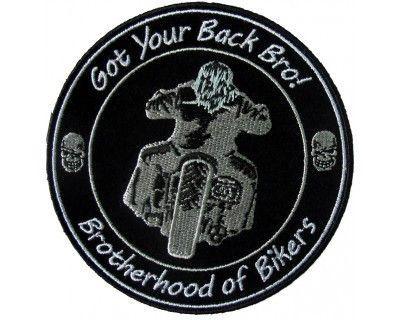 "Brotherhood of Bikers Patch Got your Back bro for Biker Motorcycle vest jacket size 4"""
